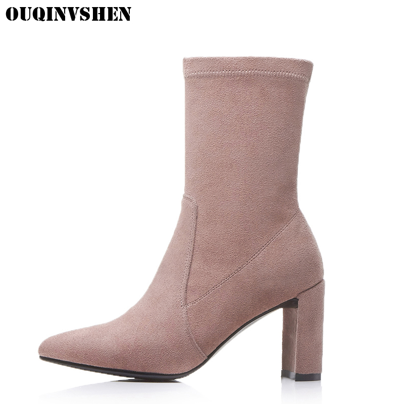 OUQINVSHEN Zipper Pointed Toe Boots Casual Fashion Women Ankle Boots Kid Suede Square heel High Heels Ladies Girl Boots Brand nemaone 2018 women ankle boots square high heel pointed toe zipper fashion all match spring and autumn ladies boots