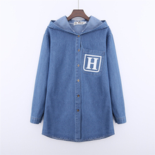 high quality denim cotton Women blouse 2017 long sleeve cap letter print denim outerwear casual loose jeans shirts female tops