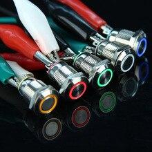 12 мм светодиодный 3 в 5 в 12 В 24 В 220 В металлический кнопочный переключатель Мгновенный Кнопочный автоматический сброс водонепроницаемый с подсветкой