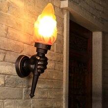 Antorcha creativa lámpara de pared de mano luz exterior jardín porche de jardín sala de estar dormitorio escalera pasillo restaurante café luz bra