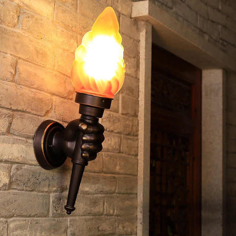 Kreatif Torch Tangan Lampu Dinding Outdoor Lampu Taman Halaman Teras Ruang Tamu Kamar Tidur Tangga Lorong Koridor Restoran Cafe Cahaya Bra
