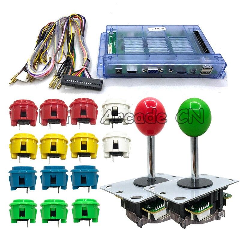 Pandora 6 S + 1388 en 1 carte PCB + 2 pièces zéro retard 5 broches Joystick 30mm boutons d'arcade usage domestique harnais câble ensemble pour bricolage