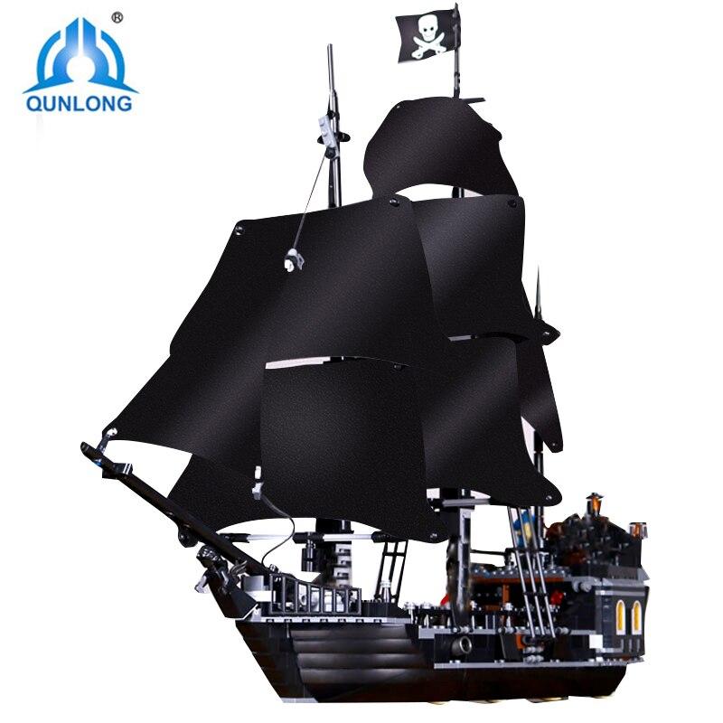 Qunlong Пираты Карибского моря черный жемчуг корабль строительные блоки DIY Развивающие игрушки для детей Подарки Совместимость Legoings