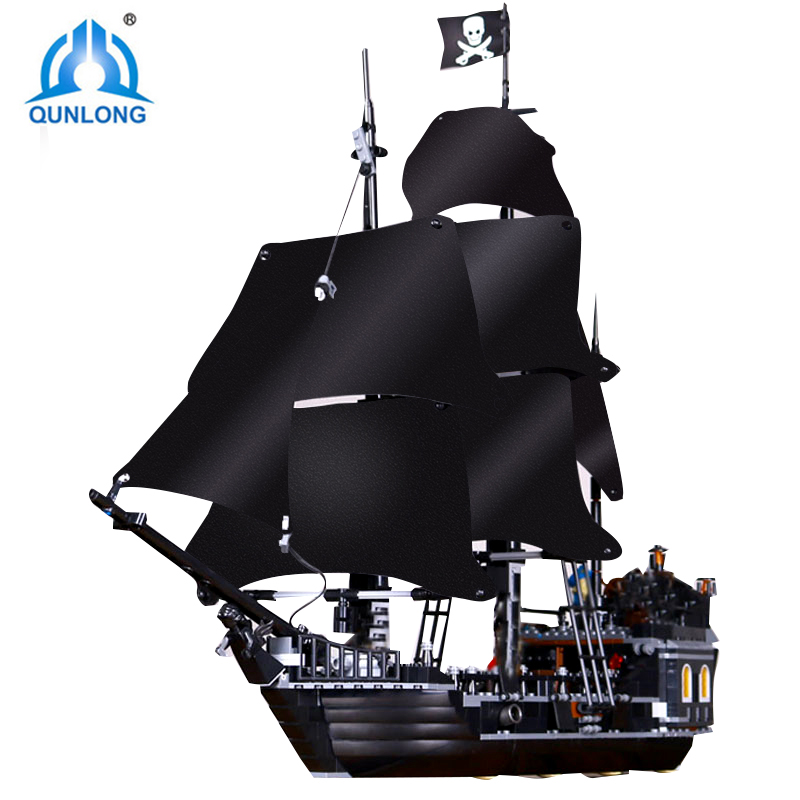 Qunlong Пираты Карибского моря черный жемчуг корабль строительные блоки DIY Развивающие игрушки для детей рождественские подарки совместимы ...