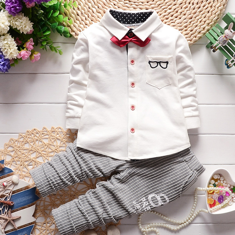 c73d586dc32d0 Baby boy clothes 2017 New Winter and Autumn Gentleman long sleeve t-shirt +  casual striped pants 2pcs suit kids clothing