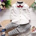 Gentleman Kids Clothing Set Glasses Tie Long Sleeve Shirts + Stripe Pants Children Fashion Suit Two Piece Suit Kids Set 22