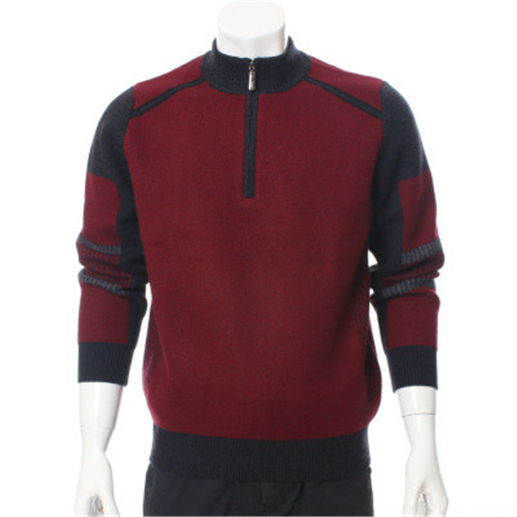 100%goat Cashmere Thick Knit Men Fashion Contrast Color Zipper Half-high Collar Pullover Sweater H-straight Red 2color S/2XL