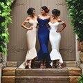 Atractivo de La Sirena Vestido de Fiesta Vestidos de dama de Honor 2016 Vestidos de Azul Marino Espalda Abierta Fuera Del Hombro Formal de Las Mujeres Vestidos de Baile