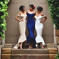 Sexy Mermaid Party Dress Bridesmaid Dresses 2016 Navy Blue Gowns Open Back Off The Shoulder Formal Women Prom Dresses