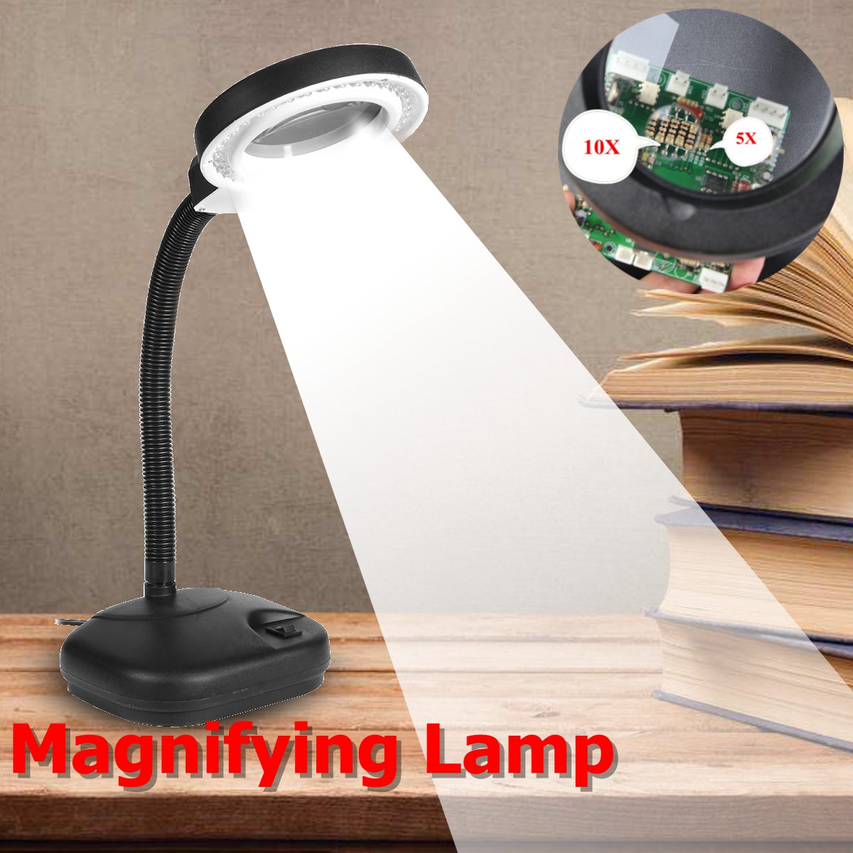 ZEAST 5X 10X Magnifier LED Desk Light Daylight Craft Glass Table Lamp 36 LED Multi-function Desktop Magnifying Lamp