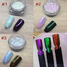 3 Jars/Set Aurora Glitter Powder Mermaid Unicorn Sequins 3D Nail Art Chrome Pigment Decoration SHINING EFFECT 1g