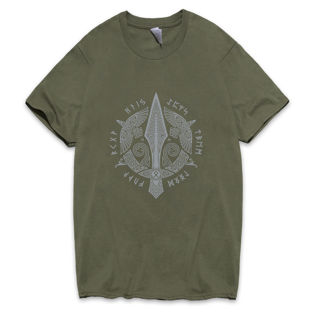 Men's Round Neck Short Sleeve Clothes New fashion Cotton T-shirt New arrival Odin Viking T Shirts Sales Tees Vikings Odin 2019