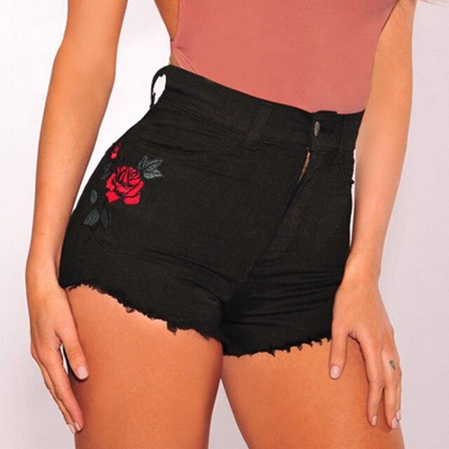 7454e9e8d Mulheres Sexy Verão Cintura Alta Denim Shorts Jeans Flor Rosa Bordado  Casuais Calças Curtas FS99