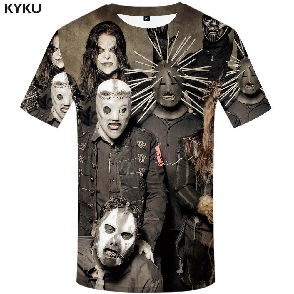 KYKU Band Rock Shirt Red Tshirt Print 3D T Shirt Men Short Sleeve Mens Clothing Punk T shirt Casual Wear Summer 2018 New in T Shirts from Men 39 s Clothing