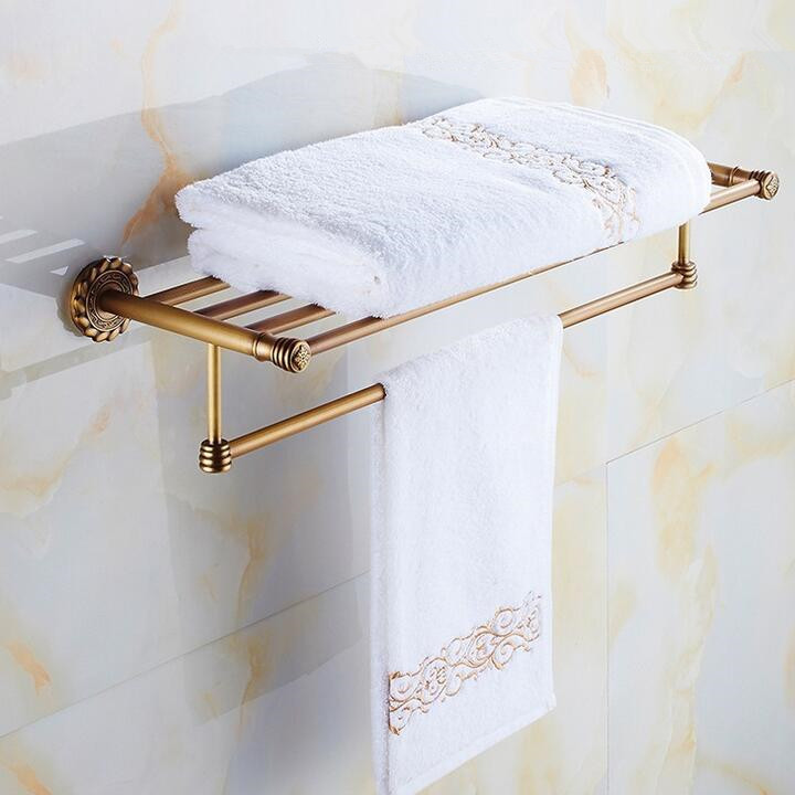 Whole brass towel rack Antique bathroom shelf Active bath towel rack bathroom towel holder Antique Double towel shelf aluminum foldable antique brass bath towel rack active bathroom towel holder double towel shelf with hooks bathroom accessories