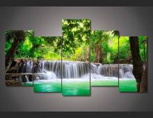 Framed Printed green tropical waterfall Painting children's room decor print poster picture canvas Free shipping/wo-493