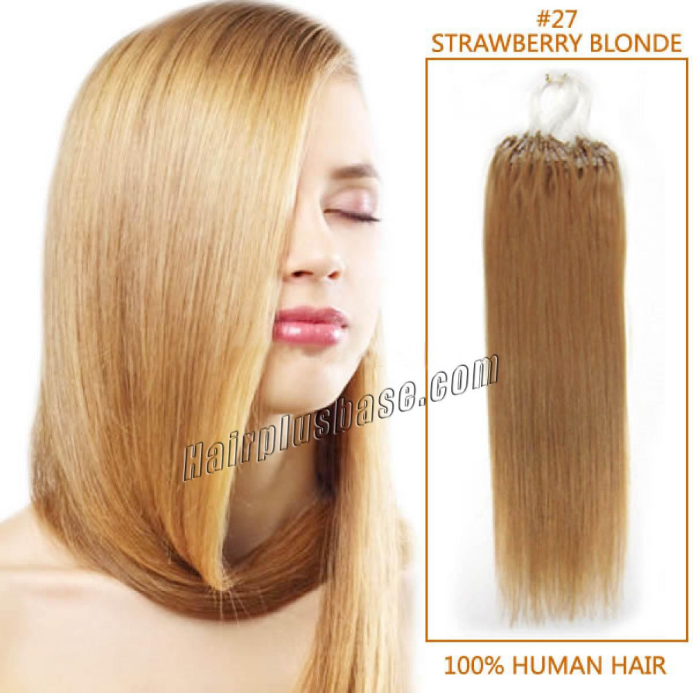 Full Head Straight Micro Loop Hair Extension In 27 Strawberry