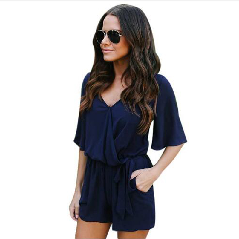 a89cef265ba3 ELSVIOS Spring Summer Chiffon Women Playsuit Jumpsuits 2018 Office Style Ladies  Rompers Sexy V Neck Casual Overalls With Pockets-in Rompers from Women s ...