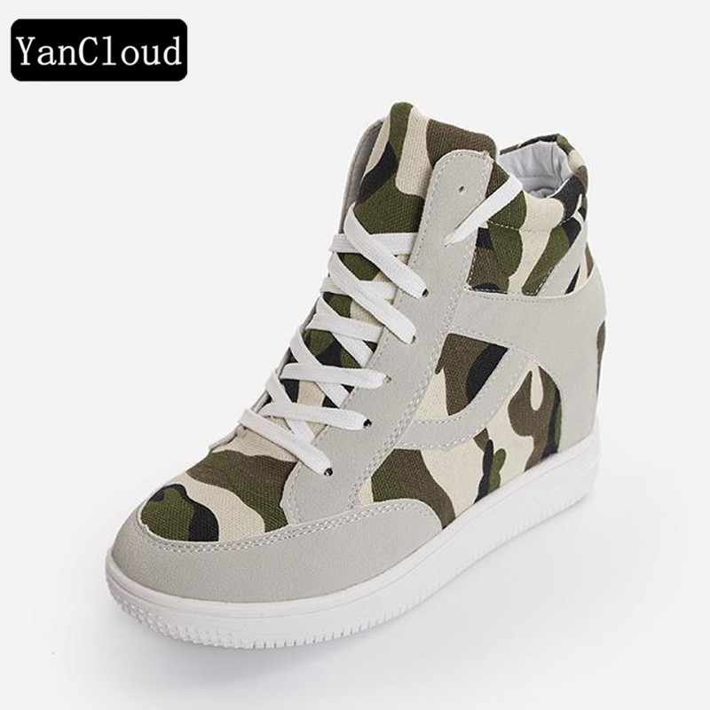 Breathable Camouflage High Top Canvas Shoes Women 2018 Spring Lace up Casual Shoes Woman Flat Footwear for Walking dagnino women flat lace up breathable trainers casual walking shoes all match white canvas shoes print woman sneakers footwear