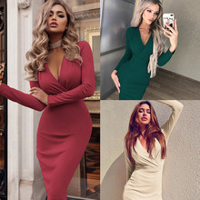European and American women's slim dress with deep v-neck drape covering buttocks and long sleeves as a base dress 2019 new(China)