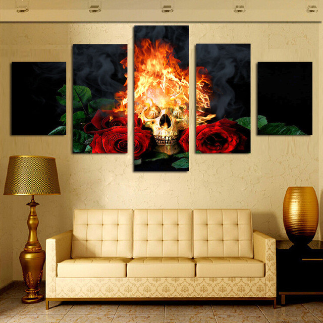Red Rose Skull canvas wall art print home decor for living room ...