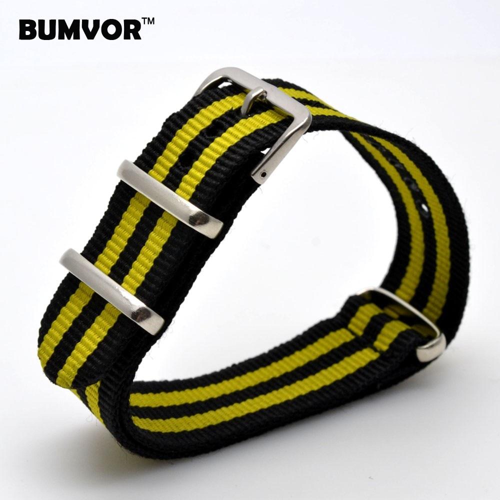 New 20 Mm Belts Stripe Cambo Navy YELLOW Nato Woven Fiber Watchband 20mm Nylon Watch Straps Wristwatch Band Buckle Cheap Fabric