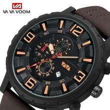 VA VA VOOM original men's watch brand fashion sports watch, men's waterproof quartz military watch leather wrist watch топ voom