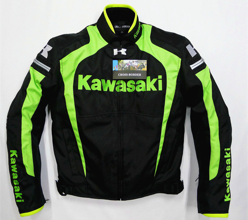 Moto GP Jackets For Kawasaki Team Racing Motorcycle Moto Chaqueta with Protectors Black Green цена