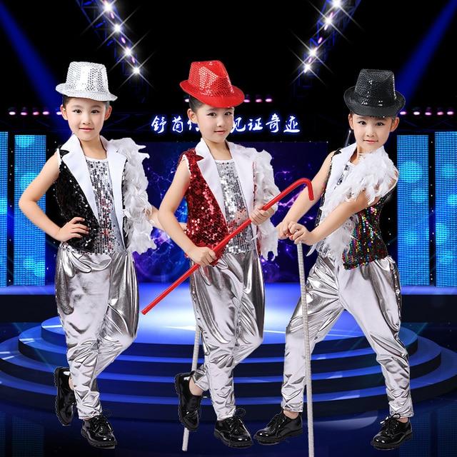 157c125a8 Children Shelf Drummer Boy Hip hop Sequins Costume Jazz Dance Stage ...
