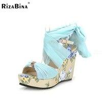 Rizabina miễn phí vận chuyển dép nêm phụ nữ sexy nền tảng giày dép thời trang giày p13366 eur kích thước 34-39