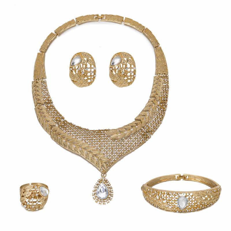 MUKUN 2018 כלה אופנה מתנה ניגרי חתונה אפריקאית חרוזים תכשיטי סט דובאי זהב צבע שרשרת תכשיטי סט סיטונאי עיצוב