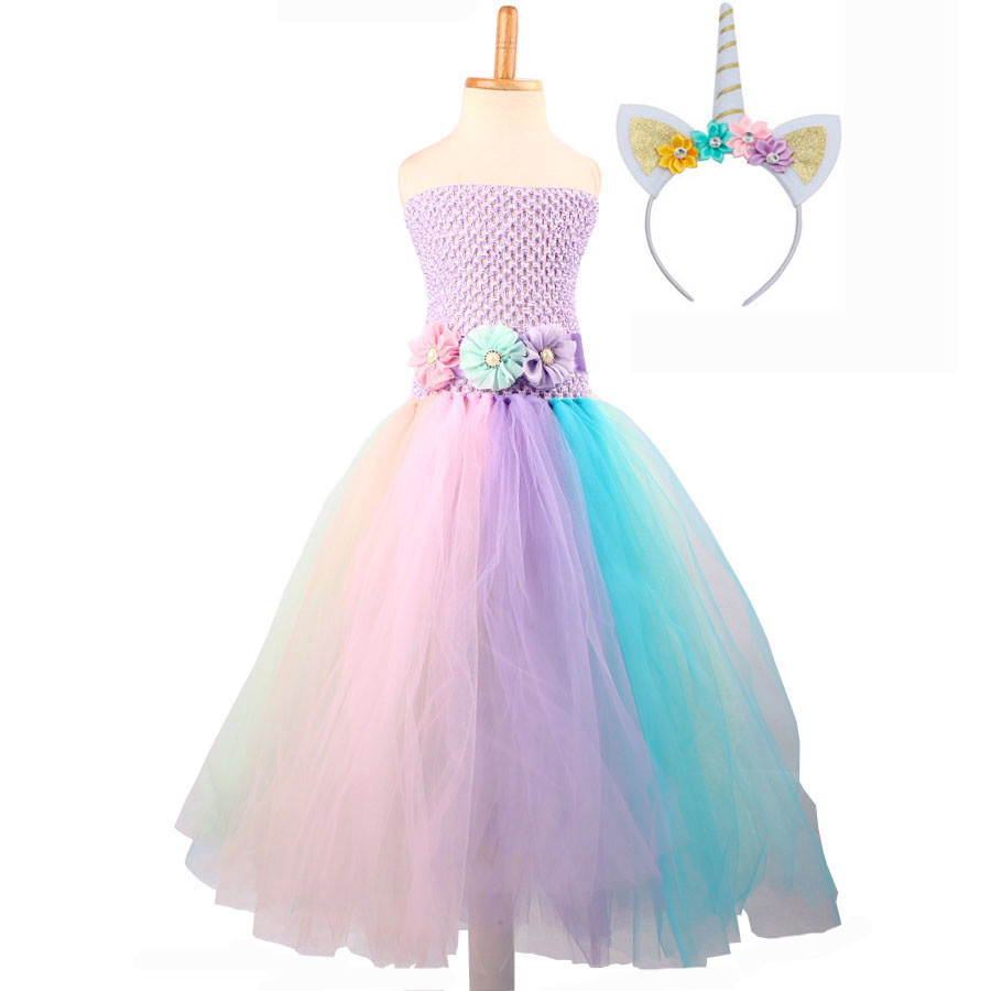 Baby Girl Flower Pony Unicorn Tutu Dress Extra Fluffy Kids Fairy Wedding Birthday Party Dresses with Hair Hoop for Cosplay (8)