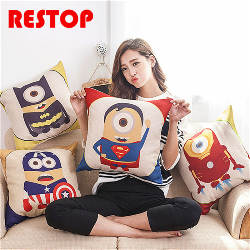 45*45cm Minions The Avengers Hero Pillow Cover Cushion Office Nap Throw Pillow Case RES675