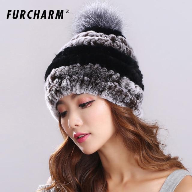 d3b6f49964548b Women Genuine Knitted Rex Rabbit Fur Hats Russian Hat ushanka Natural  Stripe Rex Rabbit Fur Caps