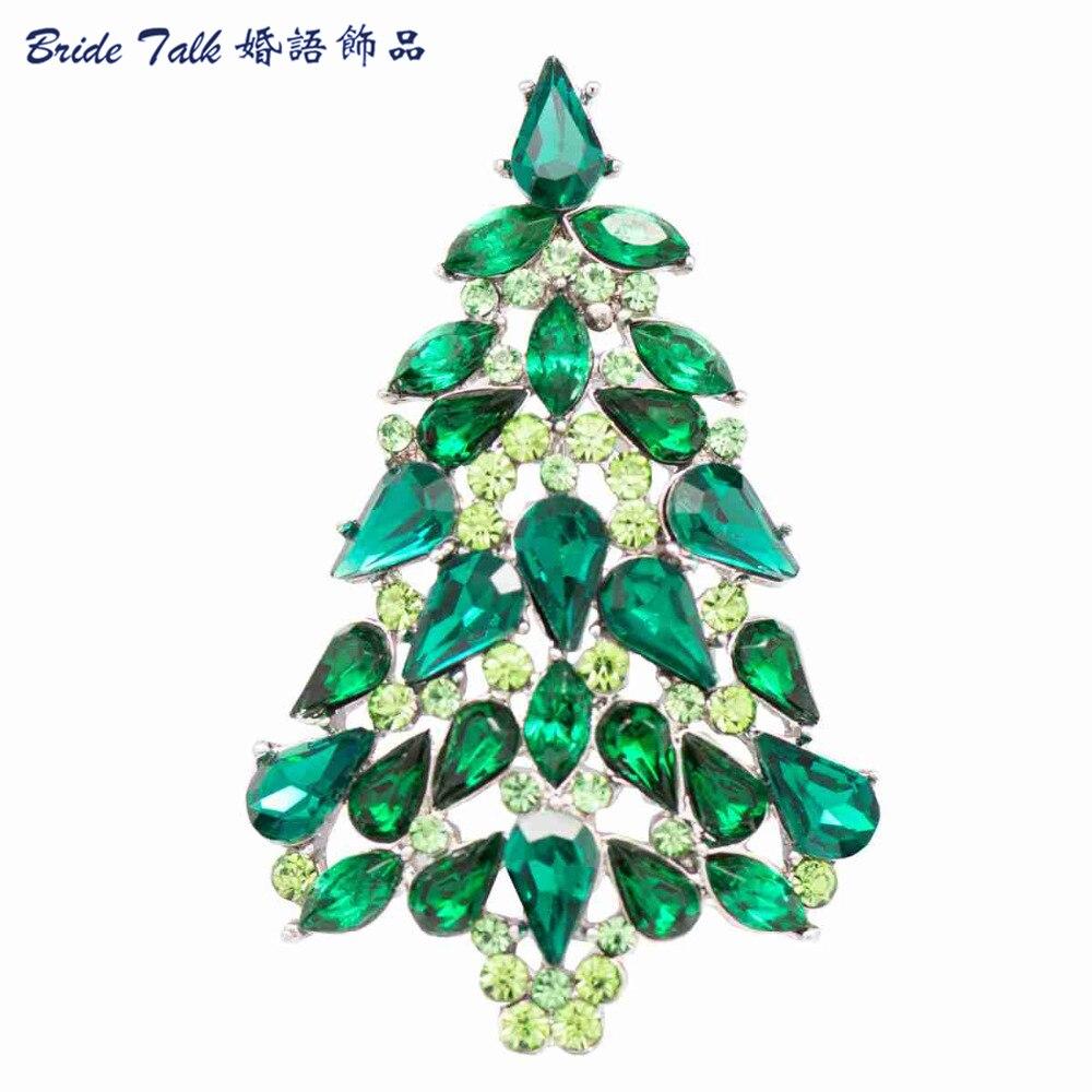 Kopen Goedkoop Mode Strass Broches Kerstboom Broche Pin Voor
