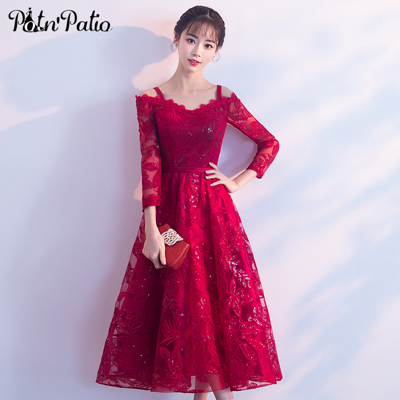 Elegant Sequined Long Sleeve   Evening     Dresses   Boat Neck Wine Red Lace   Evening   Gown Long For Women Plus Size