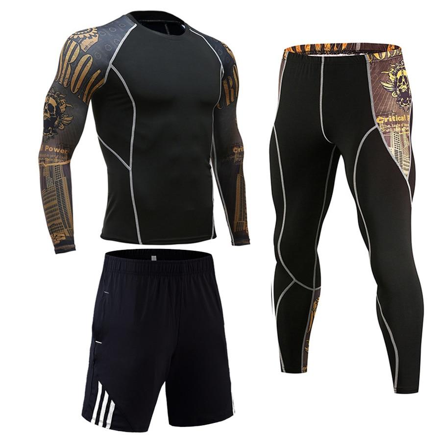 Brand 3pcs/Sets Men's Suit Rashguard Male Kit MMA Compression Clothing Male Long Sleeves T Shirt+leggings 2 Piece Tracksuit Men