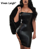 Viven Leigh Sexy Sheatch Club Dress Black Faux Leather Bandage Side PVC Latex Mini Dress Bodycon