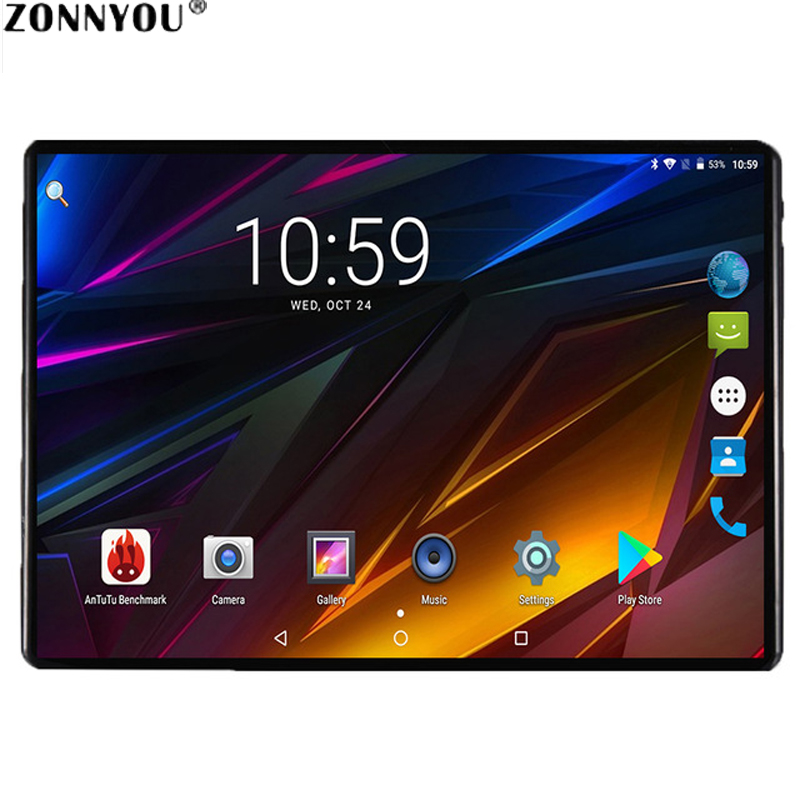 Aço 2.5D Tablet PC Da Tela de 10.1 polegada Android 9.0 Google 3G Chamada Núcleo octa 64 4GB RAM GB ROM Bluetooth Wi-Fi IPS de Vidro de Mesa para Crianças