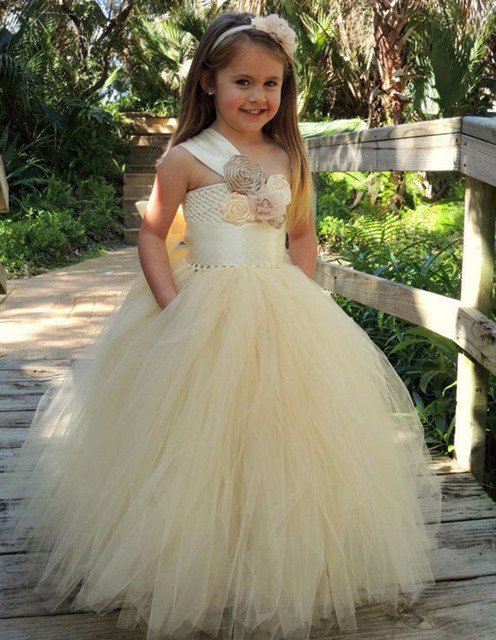 501666fc9ff Beige Tulle Princess Flower Girl Dresses 2016 Ball Gown Long kids evening  gowns Girls First Communion