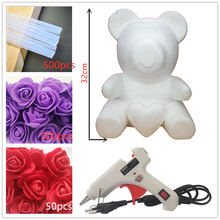 38cm Artificial PE Rose Flowers Bear DIY Valentines Gifts Romantice Party Wedding Decoration
