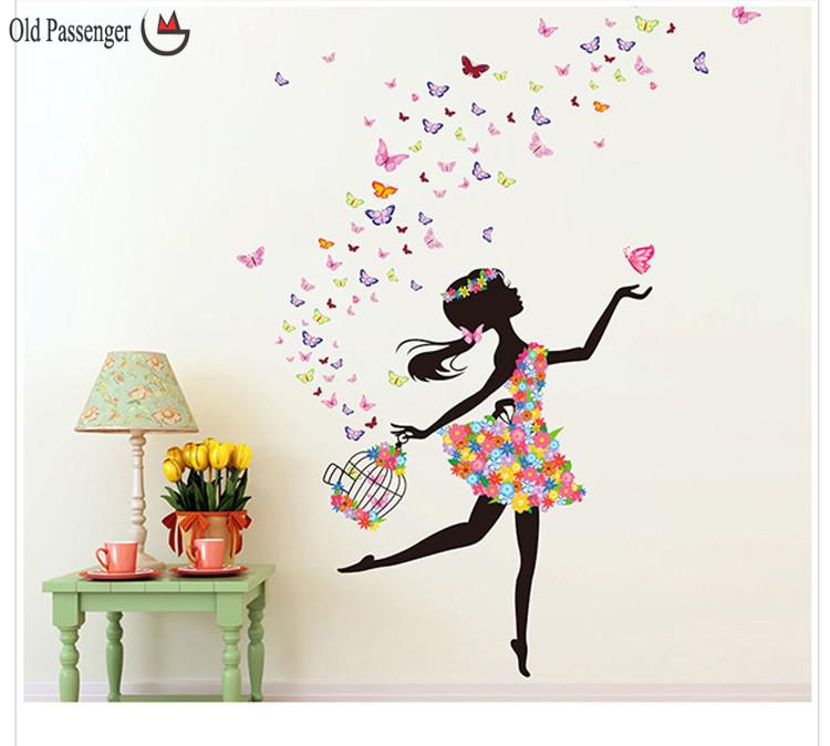 Passenger New listing wall stickers butterfly girl stylish