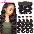 7A Ear to Ear Lace Frontal Closure With Bundles Malaysian Body Wave With Closure Full Frontal Lace Closure 13x4 With 3 Bundles