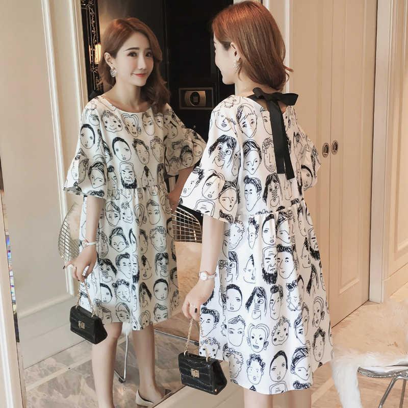 2019 летнее Новое Женское платье повседневное шифоновое платье большого размера с принтом маленькое свежее платье с бантом Vestido LQ420