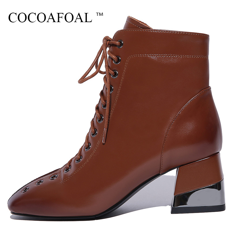 COCOAFOAL Genuine Leather Square Toe Martin Boots Plus Size 43 Woman Winter Chelsea Boots Fashion Black Lace Up Ankle Boots 2018 women autumn winter flats genuine leather lace up size zipper pointed toe fashion ankle martin boots plus size 34 42 sxq0905