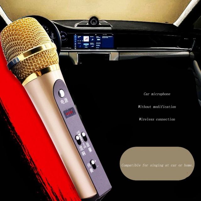 Car Microphone karaoke for IOS Android Windows Professional Recording Condenser Microphone FM87.5 wireless connection with car