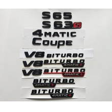 цены на Gloss Black Letters S63 S63s V8 BITURBO 4MATIC+ Fender Trunk Emblem Emblems Badges Badge for Mercedes Benz AMG W221 W222 Coupe  в интернет-магазинах
