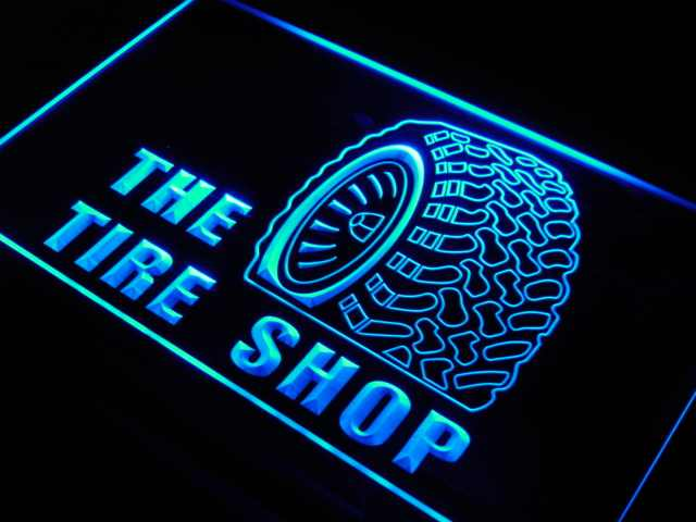s121 Tire Shop Car Auto Repair Beer LED Neon Light Sign On/Off Switch 20+ Colors 5 Sizes