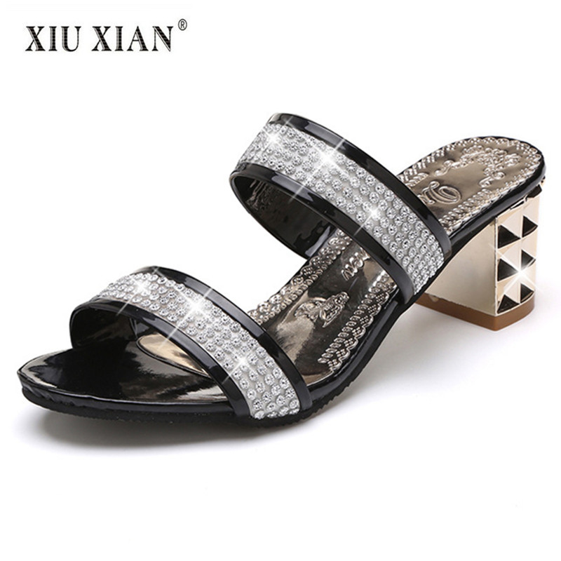 2018 New Crystal Elegant Lady Sandal Slippers Thick Heel Peep Toe Comfort Summer Shoe Big Size Fashion Lady Outside Casual Shoes 2018 summer new arrived strap design wedges women sandals peep toe comfort mid heel sexy lady sandal fashion student casual shoe