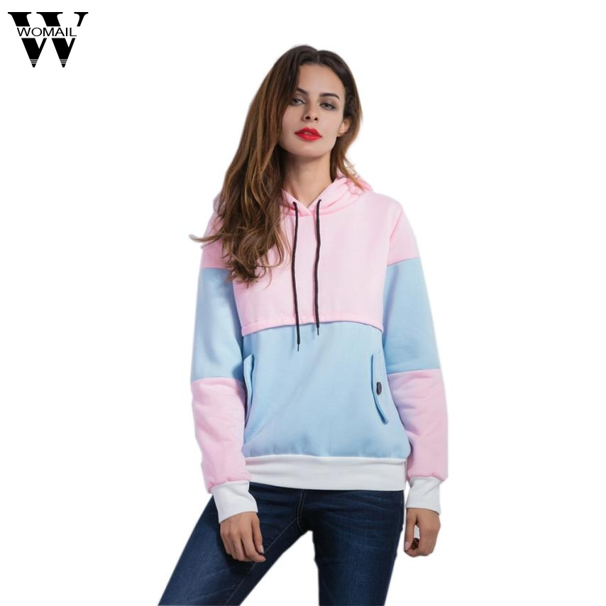 Fashion Women Long Sleeve Patchwork Hoodies Casual Loose Tops Blouse Oct19